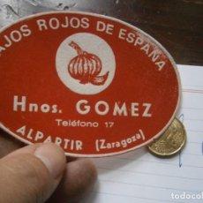 Etiquetas antiguas: ETIQUETA AÑOS 40/50, AJOS ROJOS DE ESPAÑA, GOMEZ. (ZARAGOZA). Lote 222244270