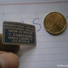 Etiquetas antiguas: ETIQUETA AÑOS 40/50, GRAMOFONOS- DISCOS. SALON DE MUSICA T.SOBREQUES (GERONA). Lote 222246752