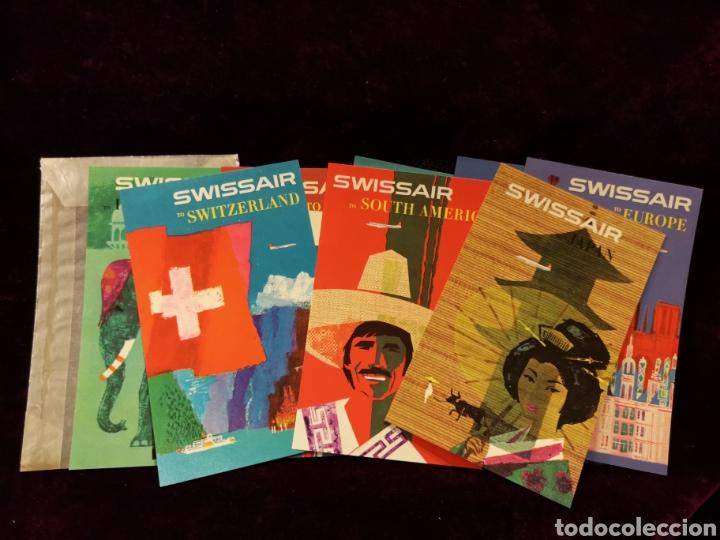 ETIQUETAS PUBLICITARIAS PARA MALETAS SWISSAIR- LOTE DE 8-CON SOBRE ORIGINAL - 7 X 11 CM (Coleccionismo - Etiquetas)