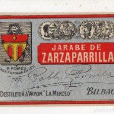 Etiquetas antiguas: ETIQUETA DE JARABE DE ZARZAPARRILLA. DESTILERÍA A VAPOR LA MERCED. BILBAO.. Lote 222697417