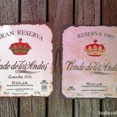 Etiquetas antiguas: PATERNINA LOTE 2 ETIQUETAS ORIGINALES CONDE DE LOS ANDES (RESERVA 1995 Y GRAN RESERVA 1991). Lote 222794937
