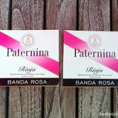 Etiquetas antiguas: PATERNINA LOTE 2 ETIQUETAS ORIGINALES BANDA ROSA. Lote 222795163