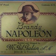 Etiquetas antiguas: ETIQUETA *BRANDY NAPOLEON* - M. GIL GALAN (JEREZ DE LA FRONTERA). Lote 236464965