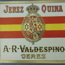 Etiquetas antiguas: ETIQUETA JEREZ QUINA - A.R. VALDESPINO (JEREZ). Lote 236464115