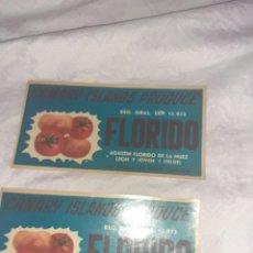 Étiquettes anciennes: 2 ANTIGUA ETIQUETA DE EMPAQUETADORA DE TOMATES Y PAPAS FLORIDO AÑOS 40 SIN USARLAS TELDE CANARIAS. Lote 224821167