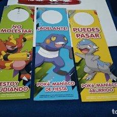 Etiquetas antiguas: LOTE POKEMON 3 CARTELES DOBLES NO MOLESTAR - 2008 POKEMON GAME FREAK ARE TRADEMARKS OF NINTENDO. Lote 225408530