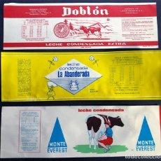 Etiquetas antiguas: 3 ETIQUETAS LECHE CONDENSADA / LACTEAS PIRENAICAS ( BINEFAR - HUESCA ) AÑOS 60 / ORIGINALES. Lote 227859535