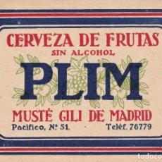 Étiquettes anciennes: ETIQUETA PLIM CERVEZA DE FRUTAS S/ ALCOHOL MADRID MUSTÉ GILI REUS TARRAGONA. Lote 272630593