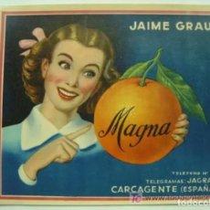 Etiquetas antiguas: 15 ETIQUETAS DE NARANJAS - MAGNA - CARCAGENTE (VALENCIA). Lote 234616445