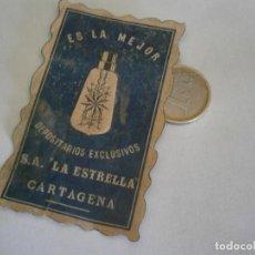 Etiquetas antiguas: ETIQUETA PUBLICITARIA AÑOS 40/50, DEPOSITARIOS EXCLUSIVOS S.A. LA ESTRELLA, CARTAGENA. Lote 235476210