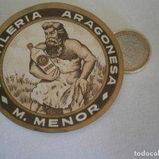 Etiquetas antiguas: ETIQUETA PUBLICITARIA AÑOS 40/50, DESTILERIA ARAGONESA M.MENOR. Lote 235477570