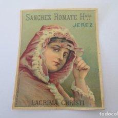 Etiquetas antiguas: ER* ETIQUETA * LACRIMA CHRISTI * SANCHEZ ROMATE HERMANOS * JEREZ. Lote 235833355