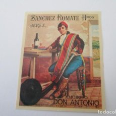 Etiquetas antiguas: ER * ETIQUETA * AMOROSO DON ANTONIO * SANCHEZ ROMATE HERMANOS * JEREZ. Lote 235834225