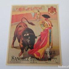 Etiquetas antiguas: ER * ETIQUETA * P.X. SUPERIOR * SANCHEZ ROMATE HERMANOS * JEREZ. Lote 235835120