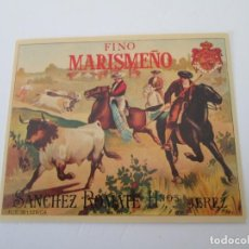 Etiquetas antiguas: ER * ETIQUETA * FINO MARISMEÑO * SANCHEZ ROMATE HERMANOS * JEREZ. Lote 235835320
