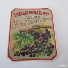 Etiquetas antiguas: ER * ETIQUETA * VINO DE TINTILLA DE ROTA * SANCHEZ ROMATE HERMANOS * JEREZ. Lote 235835880