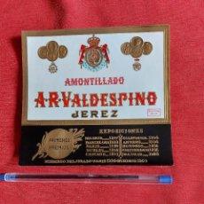 Etiquetas antiguas: ETIQUETA VALDESPINO AMONTILLADO EXPOSICIONES PRIMEROS PREMIOS. Lote 236052650