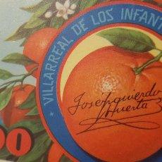 Etiquetas antiguas: JOSE IZQUIERDO HUERTA. Lote 237185235