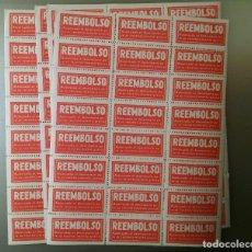 Etiquetas antiguas: 120 ANTIGUAS ETIQUETAS ENGOMADAS Y PERFORADAS - 1950. Lote 237210970