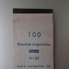 Etiquetas antiguas: 100 ANTIGUAS ETIQUETAS ENGOMADAS Y PERFORADAS - 1950. Lote 237211210