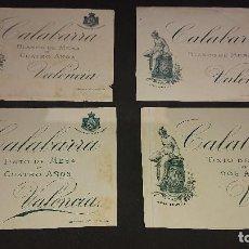 Etiquetas antiguas: LOTE DE 4 ETIQUETAS DE 1898 DE VINO DISTINTAS , CALABARRA , VALENCIA . LEER DESCRIPCION. Lote 237607435