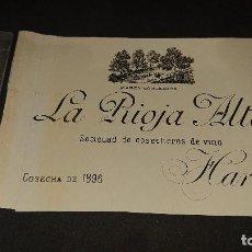Etiquetas antiguas: ANTIGUA ETIQUETA DE 1898 - LA RIOJA ALTA , SOCIEDAD DE COSECHEROS DE VINO , HARO . LEER DESCRIPCION. Lote 237611790