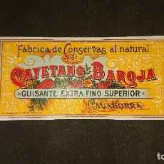 Etiquetas antiguas: ANTIGUA ETIQUETA DE 1899 GUISANTE EXTRAFINO SUPERIOR , CALAHORRA , CAYETANO BAROJ . LEER DESCRIPCION. Lote 237968760