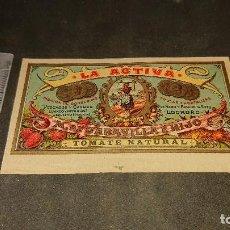 Étiquettes anciennes: ANTIGUA ETIQUETA DE 1903 TOMATE NATURAL , LA ACTIVA , M DE GARAVILLA E HIJO , HAR . LEER DESCRIPCION. Lote 237968930