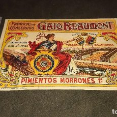 Etiquetas antiguas: ANTIGUA ETIQUETA DE 1902 PIMIENTOS MORRONES DE 1ª ,TUDELA Y CALAHORRA , GALO BEA . LEER DESCRIPCION. Lote 237969300