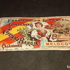 Etiquetas antiguas: ANTIGUA ETIQUETA DE 1897 MELOCOTON , CAYETANO BAROJA , CALAHORRA , FABRICACION ES . LEER DESCRIPCION. Lote 237969420