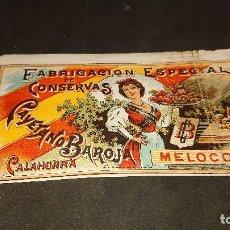 Etiquetas antiguas: ANTIGUA ETIQUETA DE 1897 MELOCOTON , CAYETANO BAROJA , CALAHORRA , FABRICACION ES . LEER DESCRIPCION. Lote 237969430