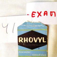 Etiquetas antiguas: ETIQUETA RHOVYL. Lote 239698555