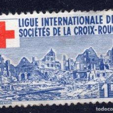 """Etiquetas antiguas: VIÑETA FRANCIA 1940 """" LIGUE INTERNATIONALE DES SOCIETES DE LA CROIX-ROUGE """". Lote 244757910"""