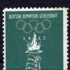 "Etiquetas antiguas: VIÑETA ALEMANIA 1952 "" DEUTSCHE OLIMPISCHE GESELLSCHAFT HELSINKI 1952 "". Lote 244758655"