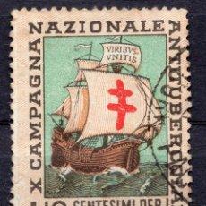 """Etiquetas antiguas: VIÑETA ITALIA 1939"""" X CAMPAGNA NAZIONALE ANTITUBERCOLARE """". Lote 244759475"""
