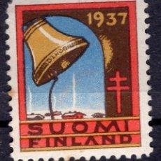 """Etiquetas antiguas: VIÑETA FINLANDIA 1937"""" ANTITUBERCULOSI """". Lote 244759800"""