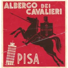 Etiquetas antiguas: ALBERGO DEI CAVALIERI - ETIQUETA PARA MALETA. Lote 244909830
