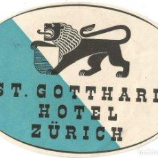 Etiquetas antiguas: HOTEL ST GOTTHARD ZURICH - ETIQUETA PARA MALETA. Lote 244910055