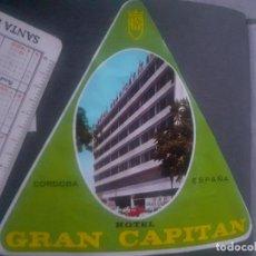 Étiquettes anciennes: ETIQUETA DE HOTEL GRAN CAPITÁN, CÓRDOBA. Lote 245485230