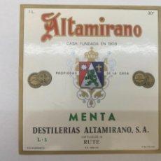 Etiquetas antiguas: ETIQUETA ALTAMIRANO RUTE. Lote 245553960