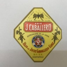 Etiquetas antiguas: ETIQUETA ANIS J. CABALLERO RUTE. Lote 245555830