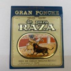 Etiquetas antiguas: ETIQUETA PONCHE DE PURA RAZA RUTE. Lote 245556240