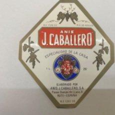 Etiquetas antiguas: ETIQUETA ANIS J. CABALLERO RUTE. Lote 245556420