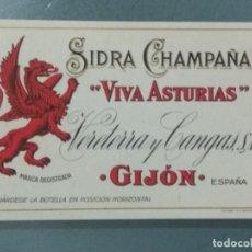 "Étiquettes anciennes: ETIQUETA SIDRA CHAMPAÑA ""VIVA ASTURIAS"". GIJON.. Lote 246078075"