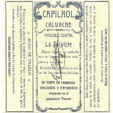 Etiquetas antiguas: CAPILHOL CALVACHE - ANTIGUA ETIQUETA. Lote 248277530