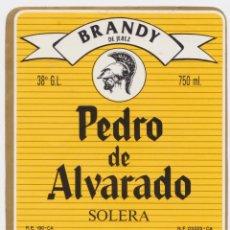 Etiquetas antigas: ETIQUETA DE BRANDY PEDRO DE ALVARADO - CARLOS Y JAVIER DE TERRY - EL PUERTO DE SANTA MARÍA. Lote 248465020