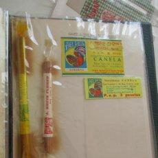 Etiquetas antiguas: 3 ETIQUETAS DE CANELA MOLIDA 1 CON BOLSITA Y 2 ROLLITOS DE CANELA, PEGADOS A UNA CARTULINA, MARCA. Lote 250132930