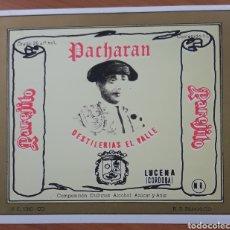 Etiquetas antiguas: ETIQUETA PACHARAN PAREJITO DESTILERÍA EL VALLE LUCENA CÓRDOBA. Lote 251932505