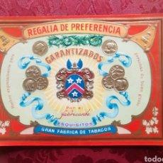 Etiquetas antiguas: GRAN FÁBRICA DE TABACOS LITOGRAFIA HABILITACIÓN VITOLA REGALÍA DE PREFERENCIA GARANTIZADOS. Lote 252086200
