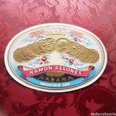 Etiquetas antiguas: RAMÓN ALLONES HABANOS FÁBRICA DE TABACOS LITOGRAFIA HABILITACIÓN VITOLA. Lote 252086855